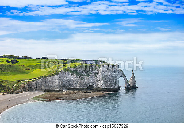Etretat Aval cliff and rocks landmark and ocean . Normandy, France. - csp15037329