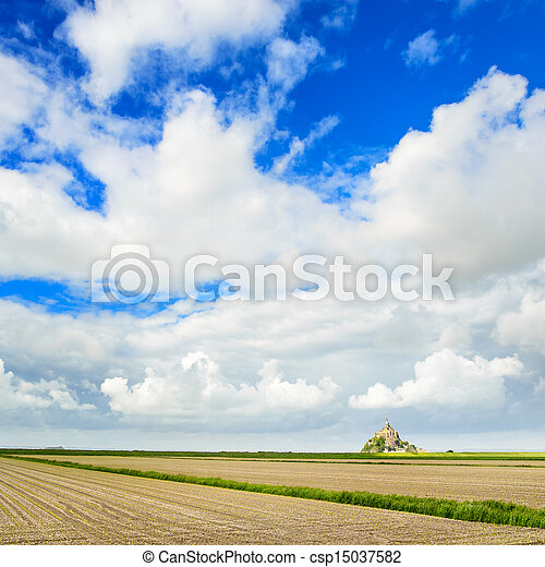 Mont Saint Michel monastery landmark and field. Unesco heritage site. Normandy, France, Europe. - csp15037582