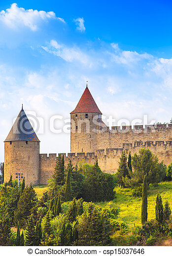 Carcassonne Cite, medieval fortified city on sunset. Languedoc Roussillon, France, Europe. - csp15037646