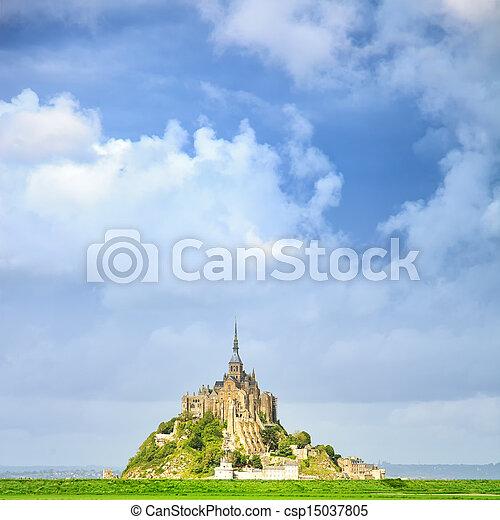 Mont Saint Michel monastery landmark and green field. Normandy, France - csp15037805