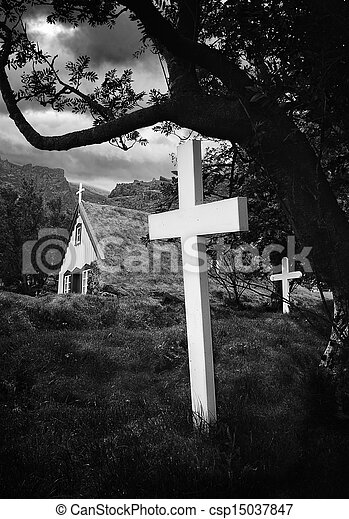 old Iceland church and cemetery - csp15037847