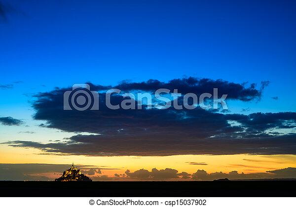 Mont Saint Michel monastery and bay landmark sunset panorama. Normandy, France - csp15037902