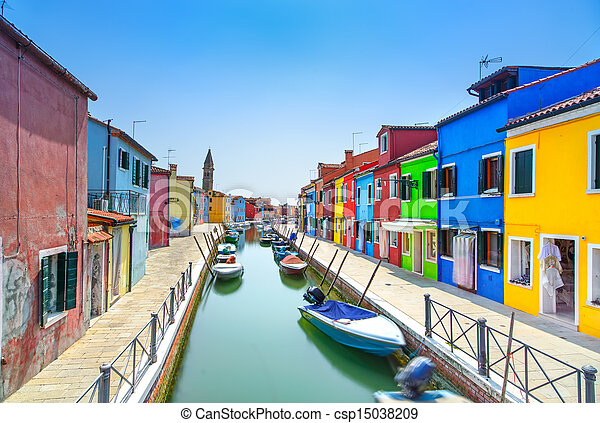 Venice landmark, Burano island canal, colorful houses and boats, Italy - csp15038209