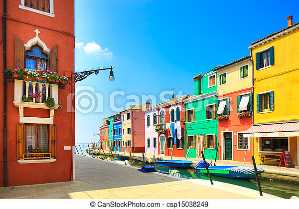 Venice landmark, Burano island canal, colorful houses and boats, Italy - csp15038249