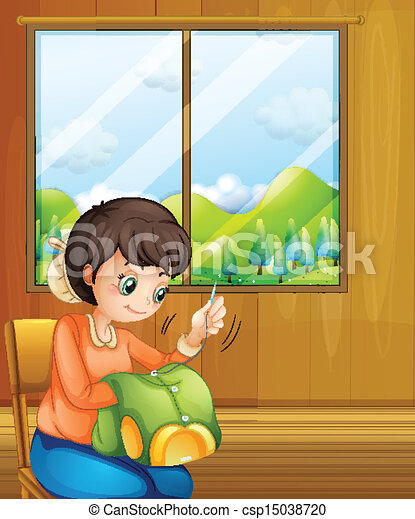 A lady sewing inside the house near the window - csp15038720