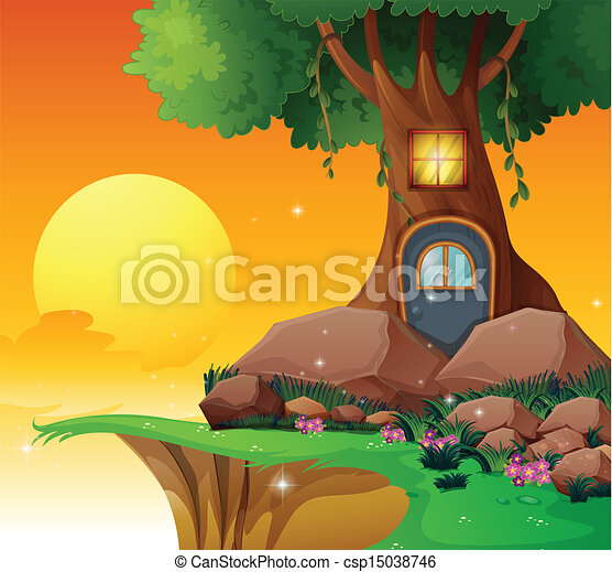 A tree house near the cliff - csp15038746