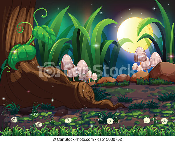 Clipart Vector Of An Enchanted Forest Illustration Of An
