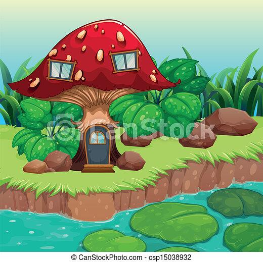 vecteurs de bois maison rouges champignon illustration de a csp15038932 recherchez. Black Bedroom Furniture Sets. Home Design Ideas