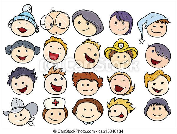 Kids Faces Vector Kids Face Csp15040134