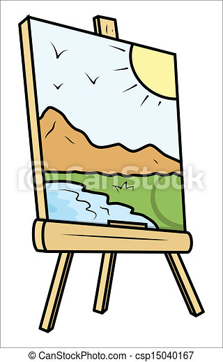Clip Art Vector Of Landscape Drawing On Painting Easel