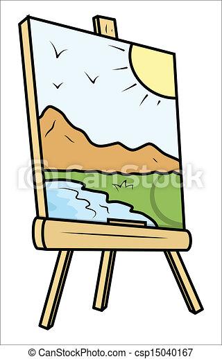 Gemälde clipart  Clip Art Vektor von staffelei, gemälde, zeichnung, landschaftsbild ...