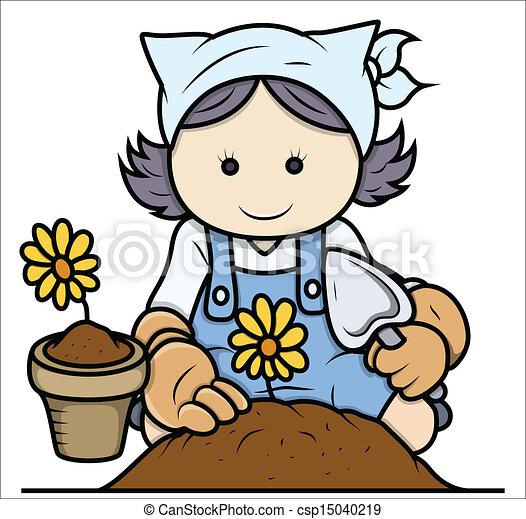 Vector Clip Art de caricatura, niña, jardinería, -, vector - dibujo ...