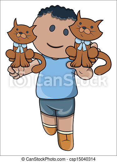 Vector Clip Art of Little Kid Playing with Kittens - Drawing Art ...