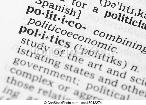 Macro image of dictionary definition of politics - csp15042274