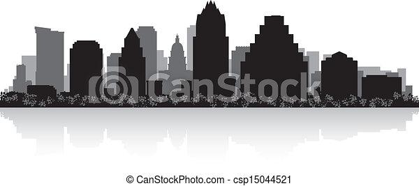 Austin city skyline silhouette - csp15044521