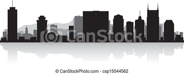 Nashville city skyline silhouette - csp15044562