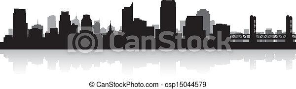 Sacramento city skyline silhouette - csp15044579