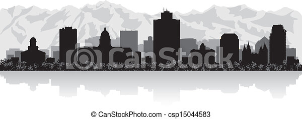 Salt Lake city skyline silhouette - csp15044583