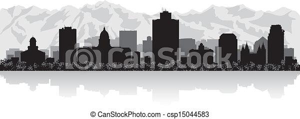 Salt Lake city skyline silhouette - csp15044583