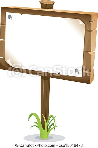 Cartoon Wood Sign - csp15046478