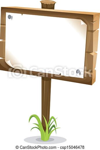 Cartoon Wood Sign - csp15046478