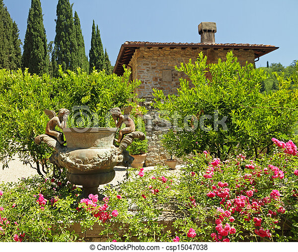 historic garden in Tuscany - csp15047038