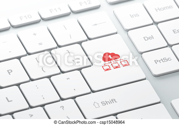 Safety concept: Cloud Network on computer keyboard background - csp15048964