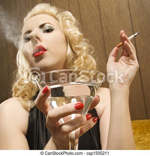 mulher, Retrato,  retro - csp1505211