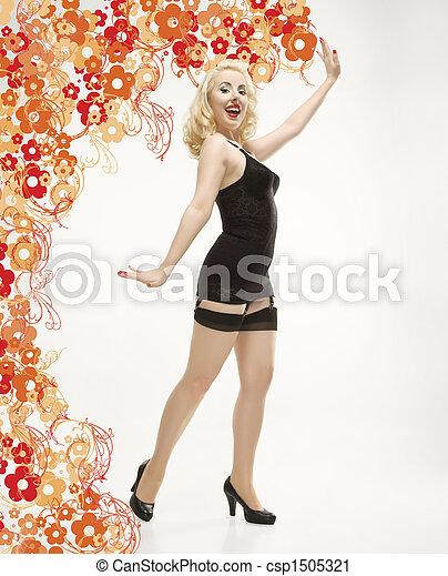 kvinna,  retro, damunderkläder - csp1505321