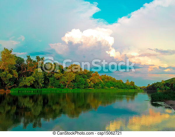 Rural Landscape With River And Clouds - csp15062721