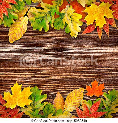 de madera,  backgroun, hojas, otoño - csp15063849
