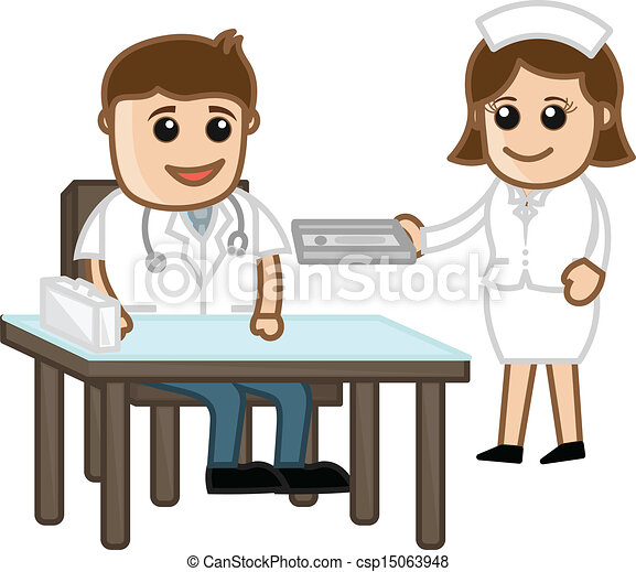 Doctor Equipment Drawing Doctor in Clinic With Nurse