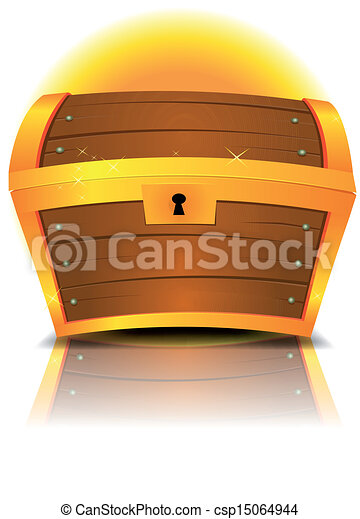 EPS Vector of Closed Cartoon Treasure Chest - Illustration ...