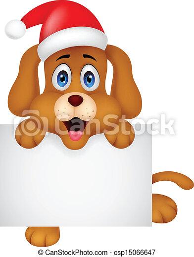 Vettore eps di cane cartone animato natale vuoto - Cartone animato natale agrifoglio di natale ...