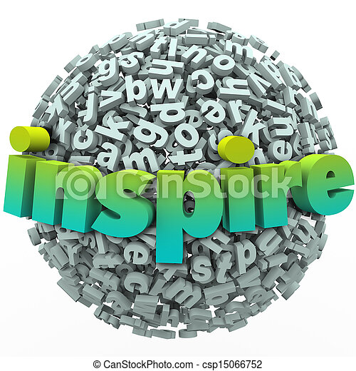 Inspire Word 3D Letter Sphere Ball Motivational Education - csp15066752