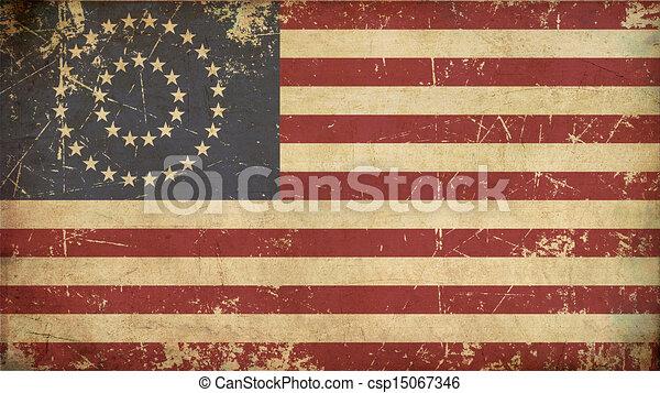 US Civil War Union -37 Star Medalion- Flag Flat - Aged - csp15067346