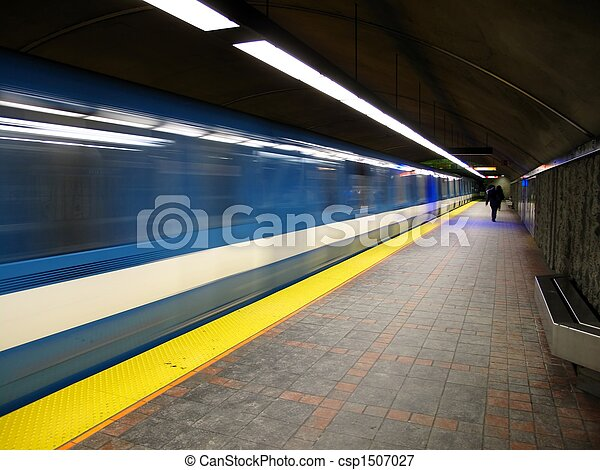 A subway leaving a station - csp1507027