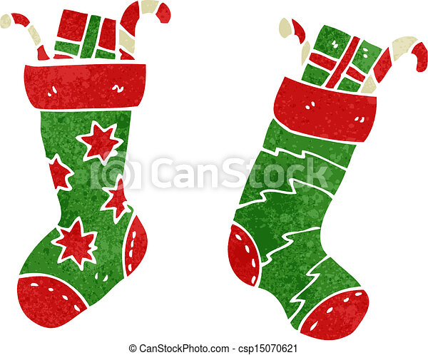 Vector Illustration of retro cartoon christmas stocking csp15070621 ...