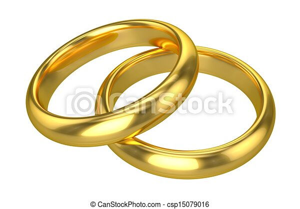 Realistic Wedding Rings - Gold - csp15079016