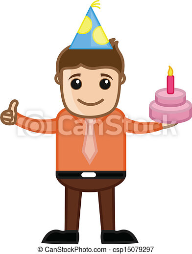 EPS Vectors of Birthday Boy with Cake Vector - Drawing Art of ...