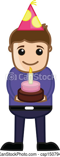 Clip Art Vector of Young Boy Holding Birthday Cake - Drawing Art ...