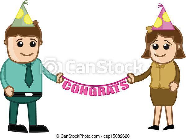 Clip Art Congrats Clip Art vector illustration of congrats business characters drawing csp15082620