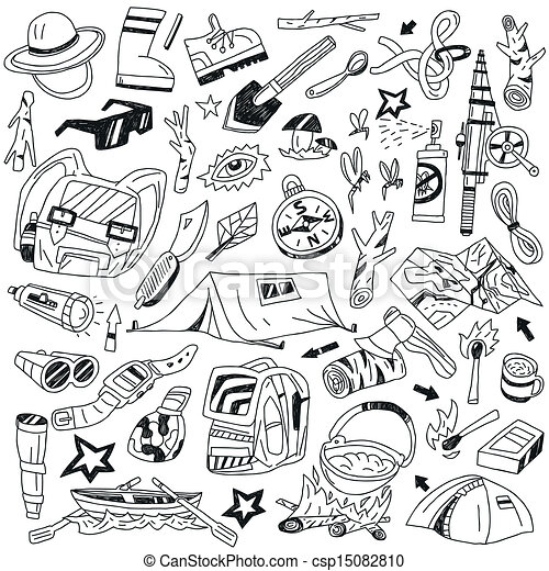 Vector Clip Art of Camping doodles csp15082810 - Search ...