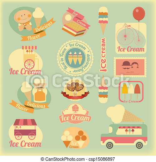 Ice Cream Retro Labels - csp15086897
