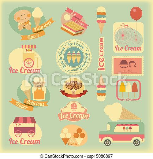 Ice Cream Retro Labels - csp15086897