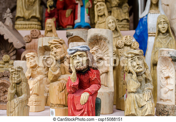 cross sad poor man hand head religion figure event - csp15088151