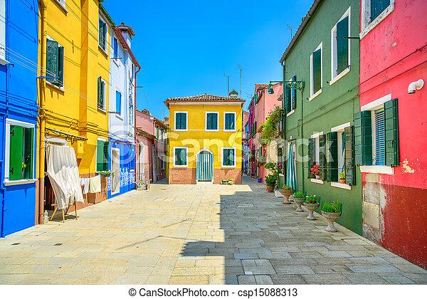 Venice landmark, Burano island street, colorful houses, Italy - csp15088313