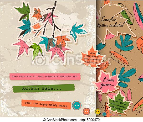 Scrapbooking set about autumn. - csp15090470