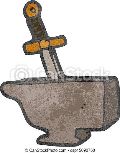 dessin animé, Épée, dans, Enclume - csp15090750