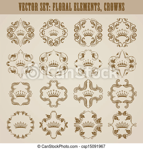 Victorian crown and decorative elements. - csp15091967